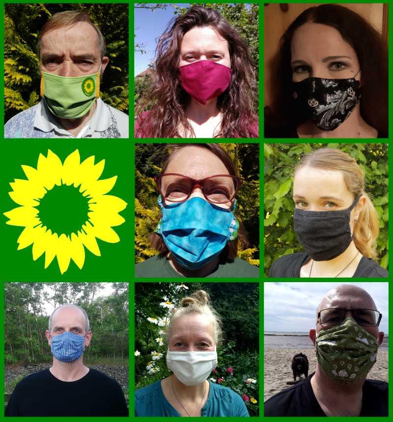 Collage Personen mit Mund-Nasen-Schutz-Maske